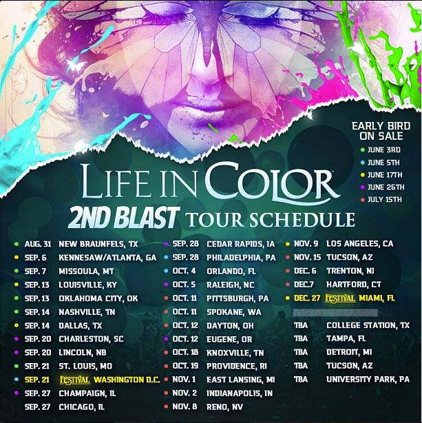 Life in Color 2nd Blast Tour Schedule