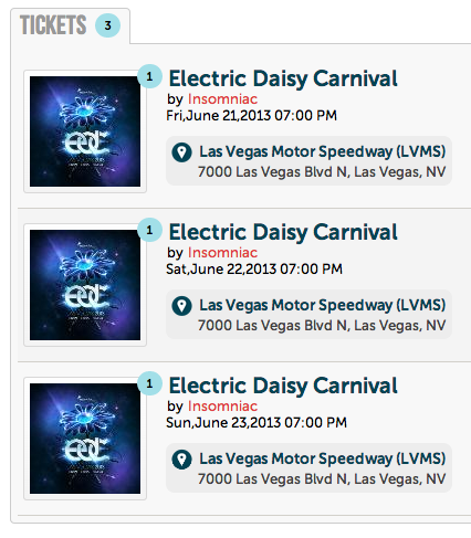 EDC Vegas 3 day Ticket