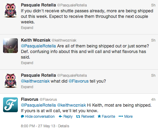 Pasquale Rotella tweet about 2013 shuttle passes