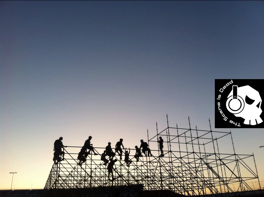 EDC Stage Setup Scaffolding Workers