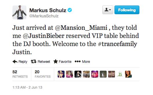 Markus Schulz welcomes Justin Bieber