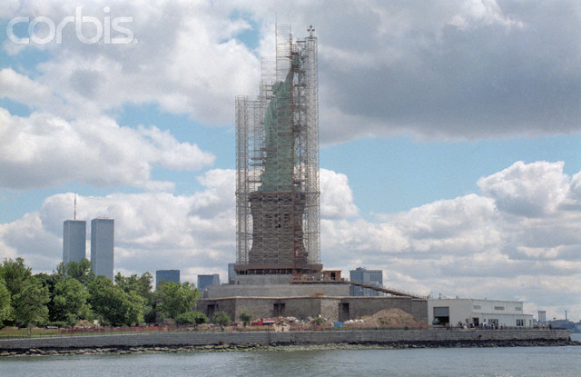 Scaffolding Surrounding the Statue of Liberty