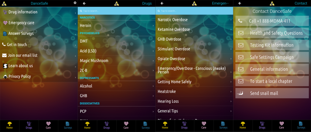 Dancesafe App - Main Screens