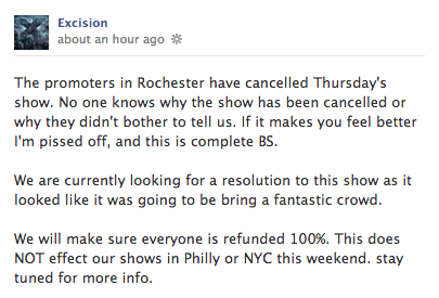 Excision Facebook Post about Rochester Cancellation