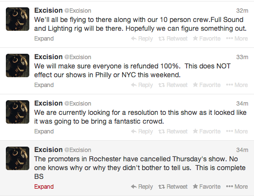 Excision Twitter Posts about Rochester Cancellation