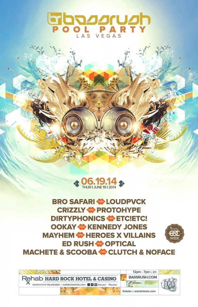 Bassrush Pool Party 2014 Paradise Beach Rehab Las Vegas
