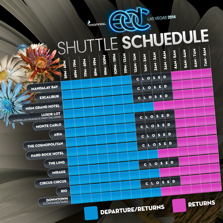 EDC Vegas 2014 Shuttle Schedule
